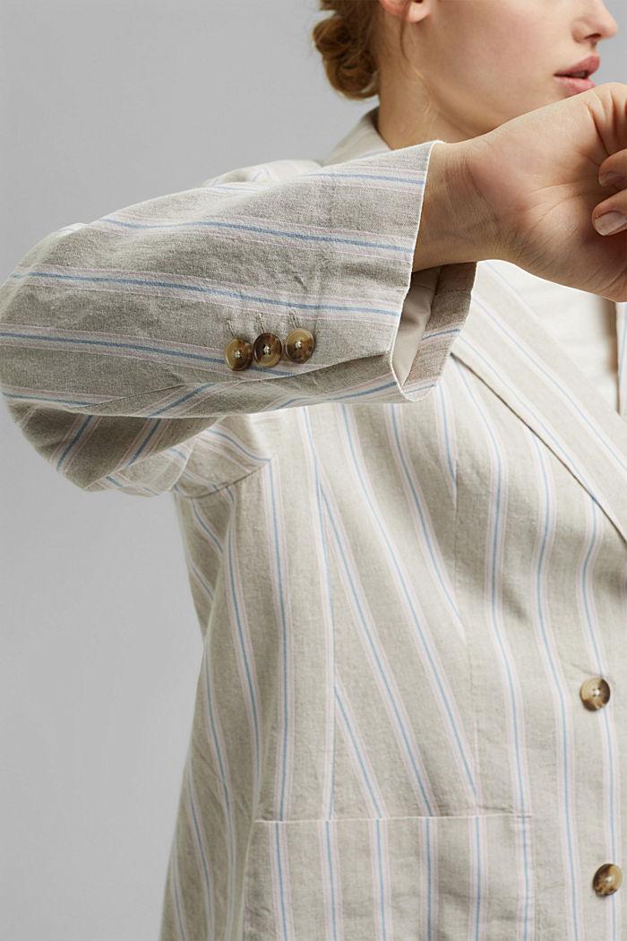 CURVY striped linen blend blazer, SAND, detail image number 2