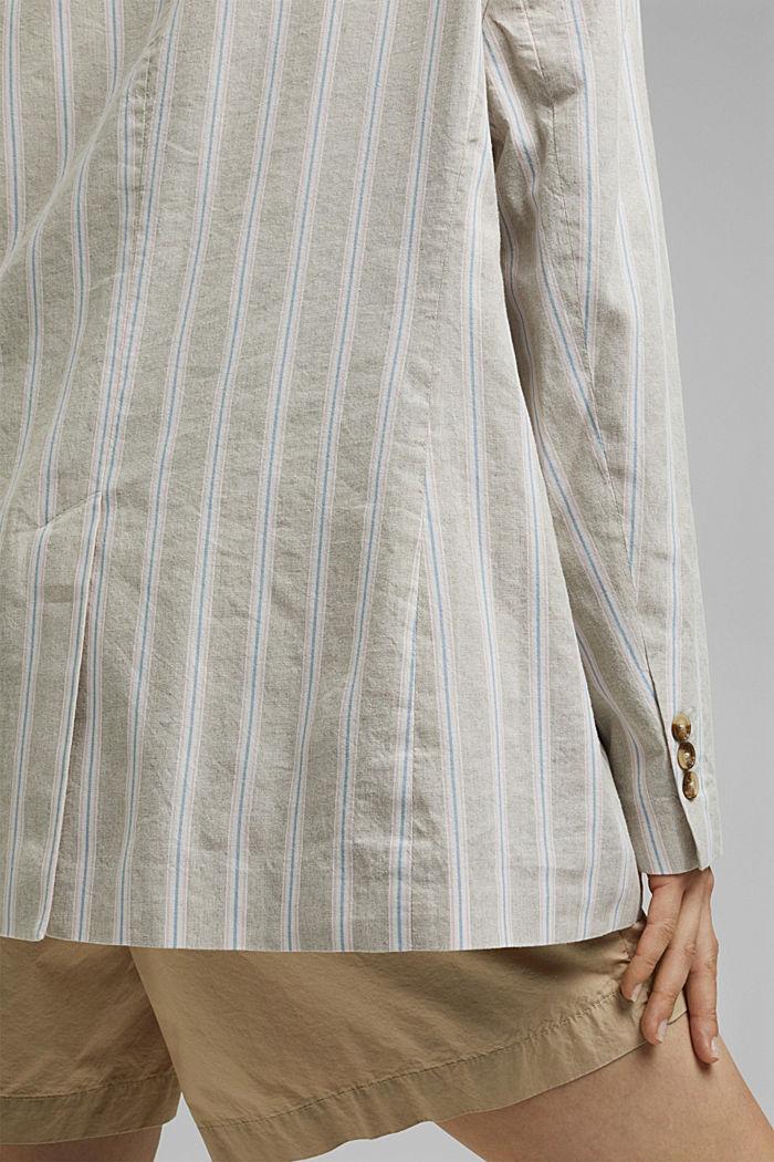 CURVY striped linen blend blazer, SAND, detail image number 5