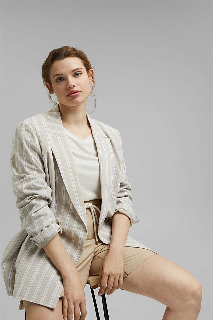 CURVY striped linen blend blazer, SAND, detail image number 6
