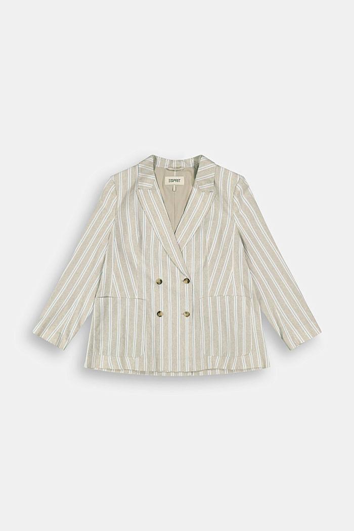 CURVY striped linen blend blazer
