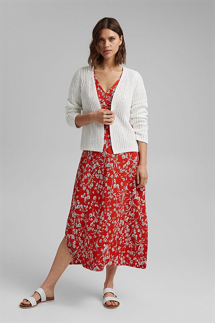 Open ribbon yarn cardigan, OFF WHITE, detail image number 1