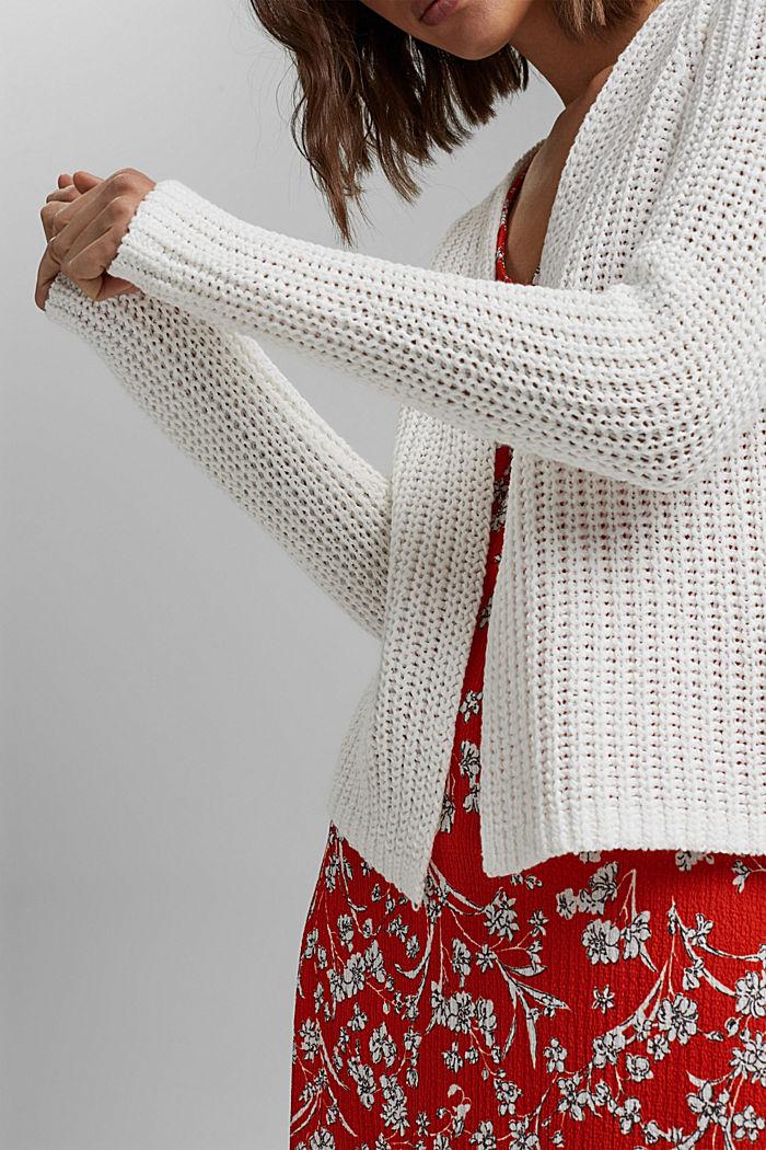 Open ribbon yarn cardigan, OFF WHITE, detail image number 2