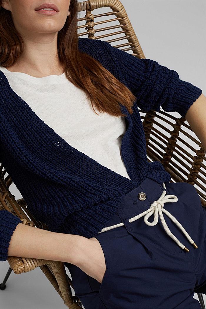 Open ribbon yarn cardigan