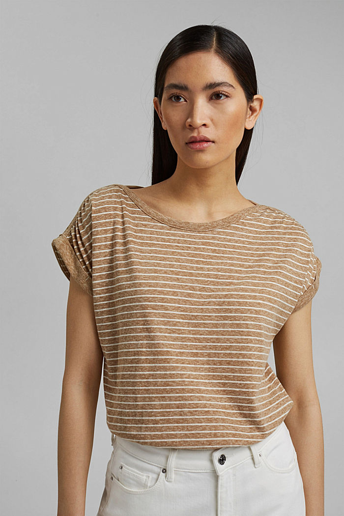 En matière recyclée: le t-shirt rayé à teneur en coton bio, CAMEL, detail image number 0