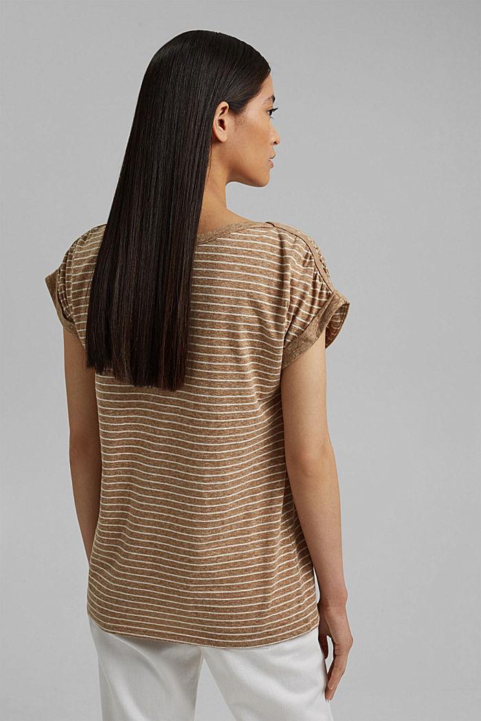 En matière recyclée: le t-shirt rayé à teneur en coton bio, CAMEL, detail image number 3