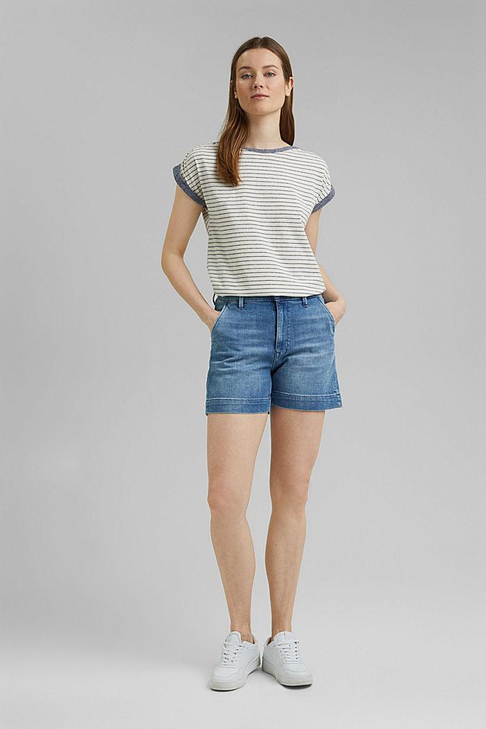 Recycelt: gestreiftes T-Shirt mit Bio-Baumwolle, NAVY, detail image number 1