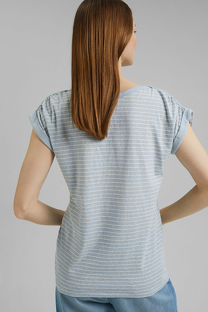 Recycelt: gestreiftes T-Shirt mit Bio-Baumwolle, LIGHT BLUE, detail image number 3