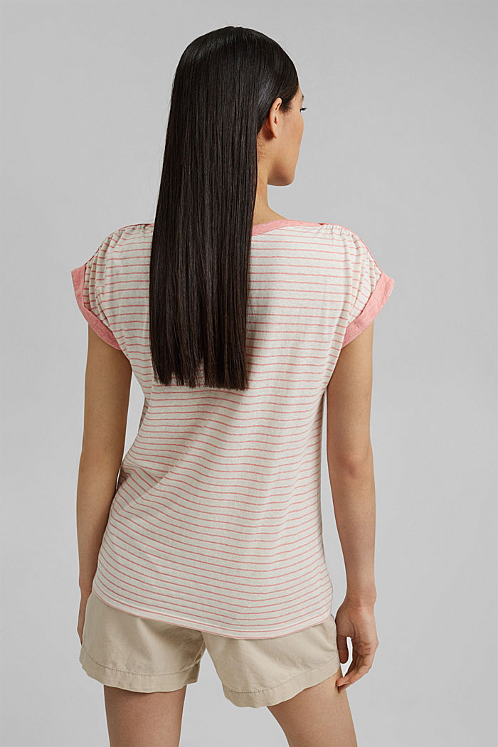 Recycled: striped T-shirt containing organic cotton, CORAL, detail image number 3