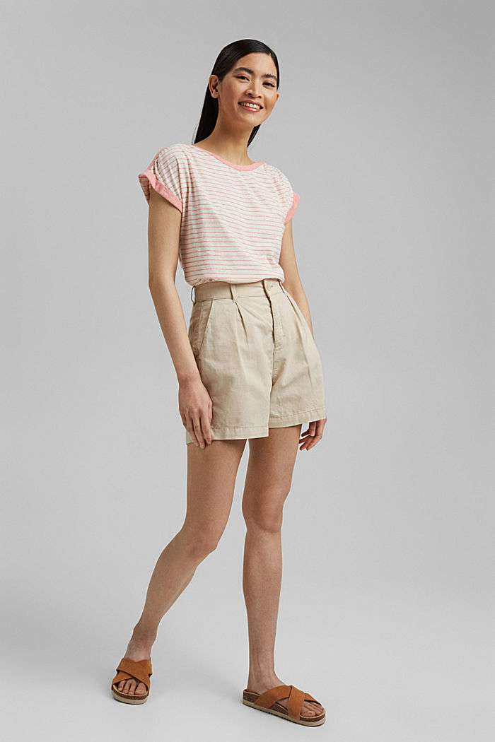 Recycled: striped T-shirt containing organic cotton, CORAL, detail image number 1