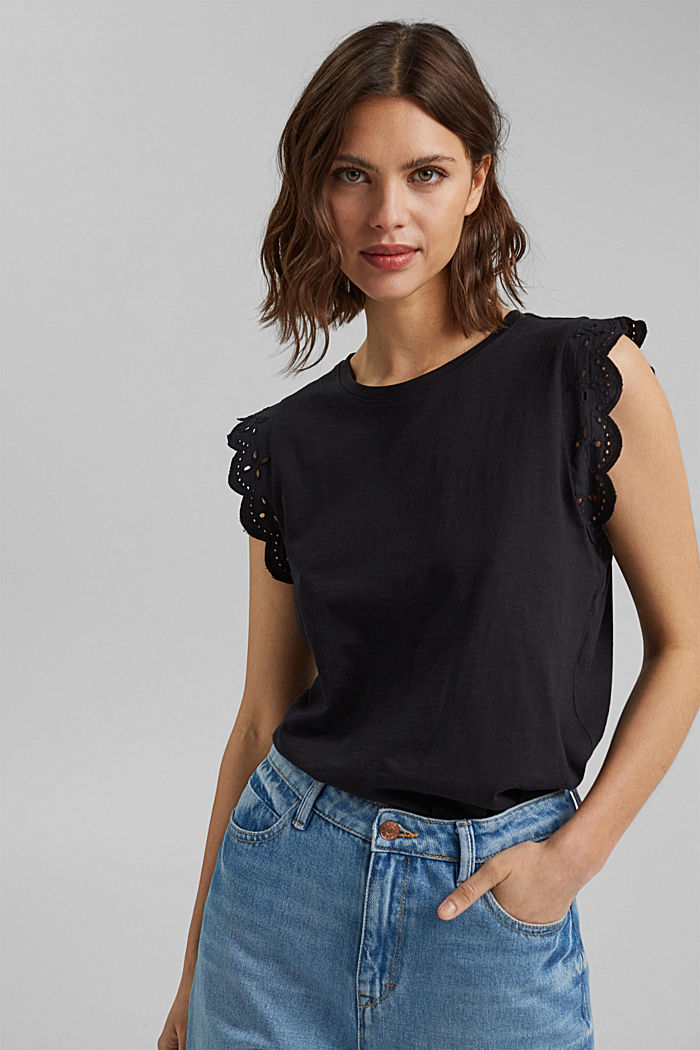 Top with broderie anglaise, organic cotton, BLACK, detail image number 0