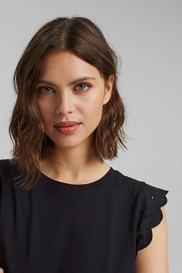 Top with broderie anglaise, organic cotton, BLACK, detail image number 6