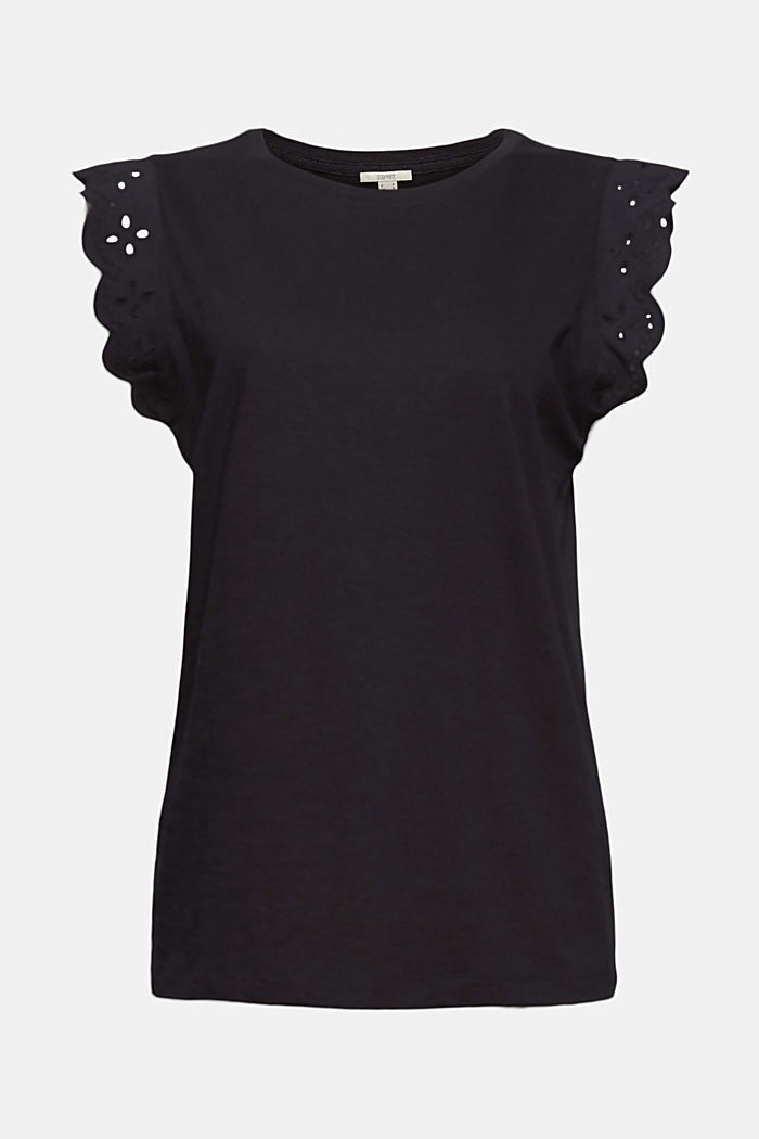 Top with broderie anglaise, organic cotton, BLACK, detail image number 7