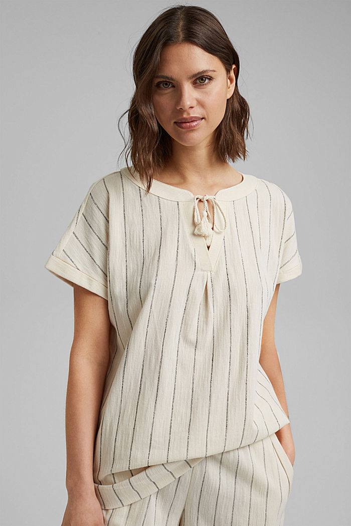Blouse-style striped shirt, organic cotton, OFF WHITE, detail image number 0