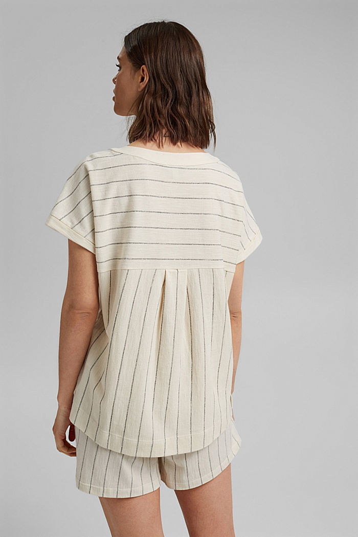 Blouse-style striped shirt, organic cotton, OFF WHITE, detail image number 3