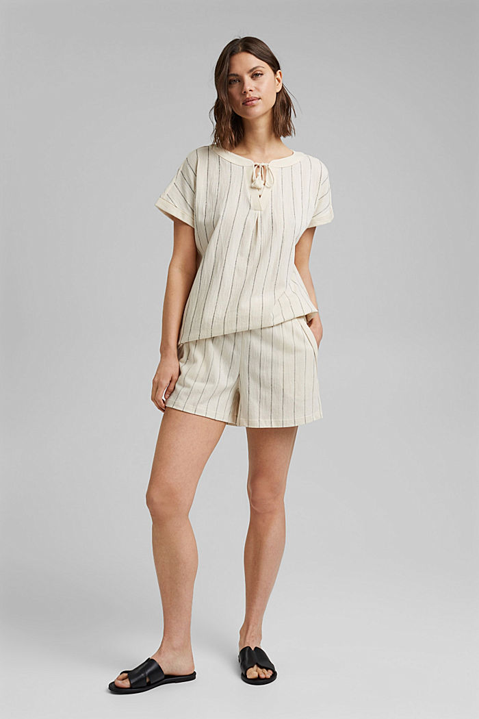 Blouse-style striped shirt, organic cotton, OFF WHITE, detail image number 1