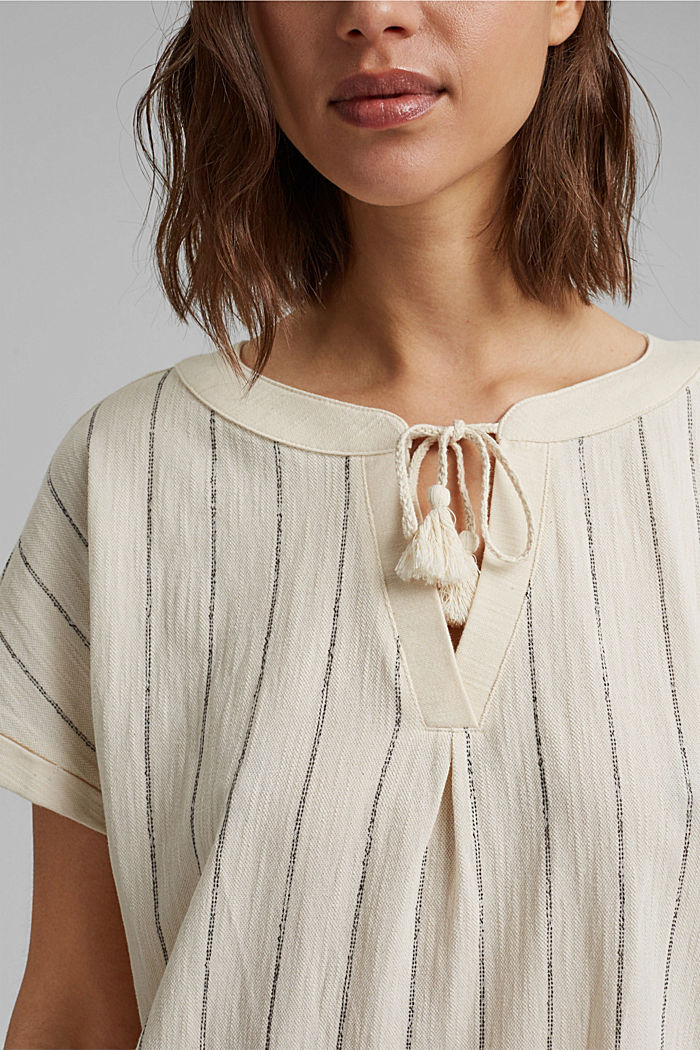 Blouse-style striped shirt, organic cotton, OFF WHITE, detail image number 2