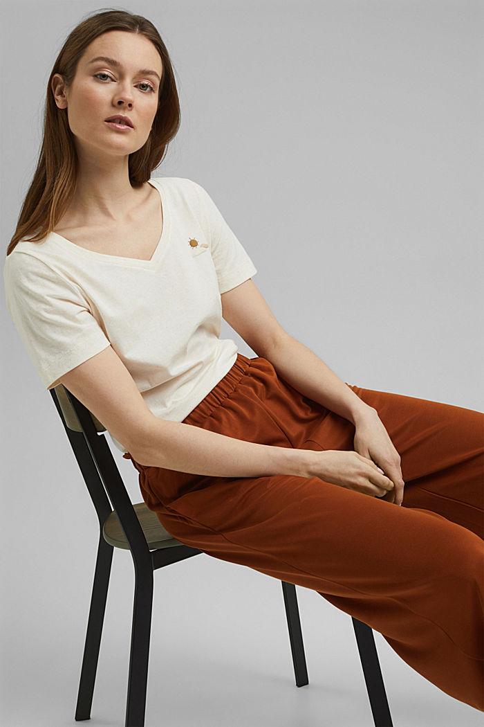 T-Shirt mit Noppen-Struktur, Organic Cotton, OFF WHITE, detail image number 0