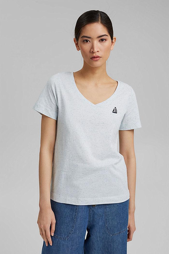 T-Shirt mit Noppen-Struktur, Organic Cotton, LIGHT BLUE, detail image number 0