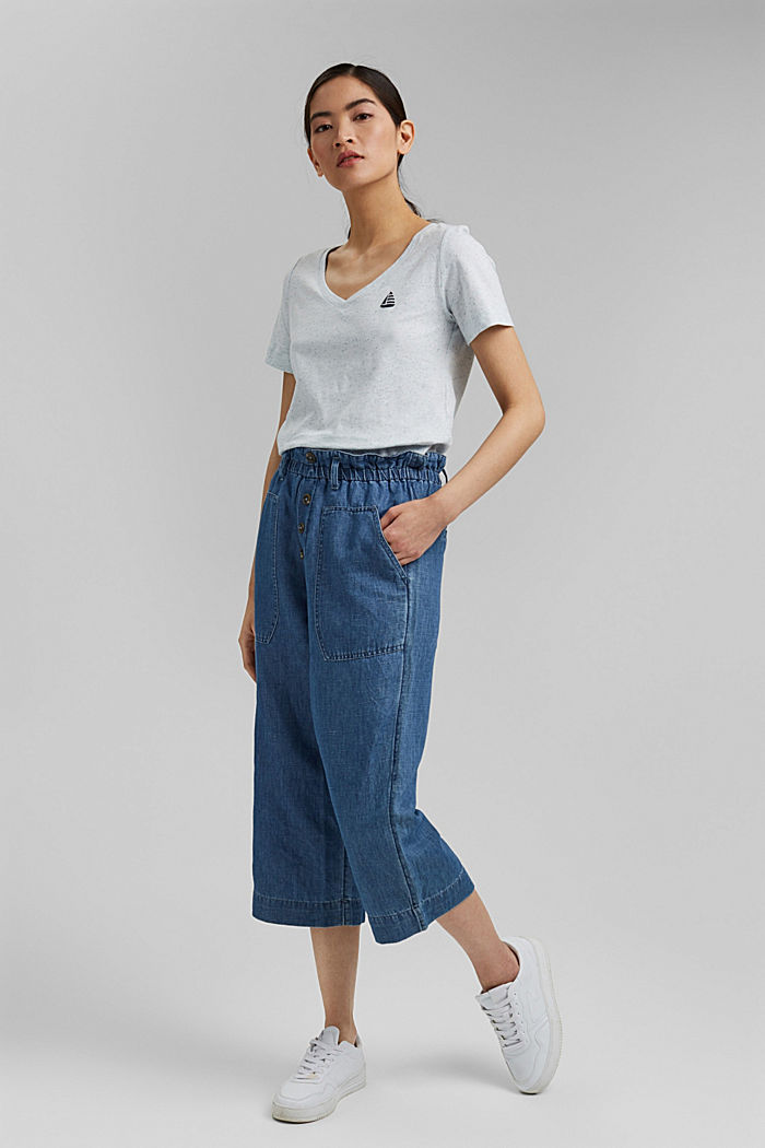 T-Shirt mit Noppen-Struktur, Organic Cotton, LIGHT BLUE, detail image number 1