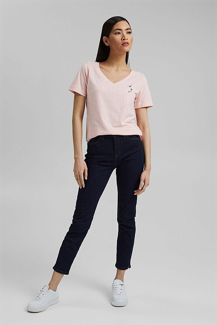 Nyppykohopintainen T-paita luomupuuvillaa, CORAL, detail image number 1