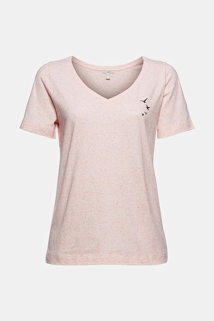 Nyppykohopintainen T-paita luomupuuvillaa, CORAL, detail image number 5