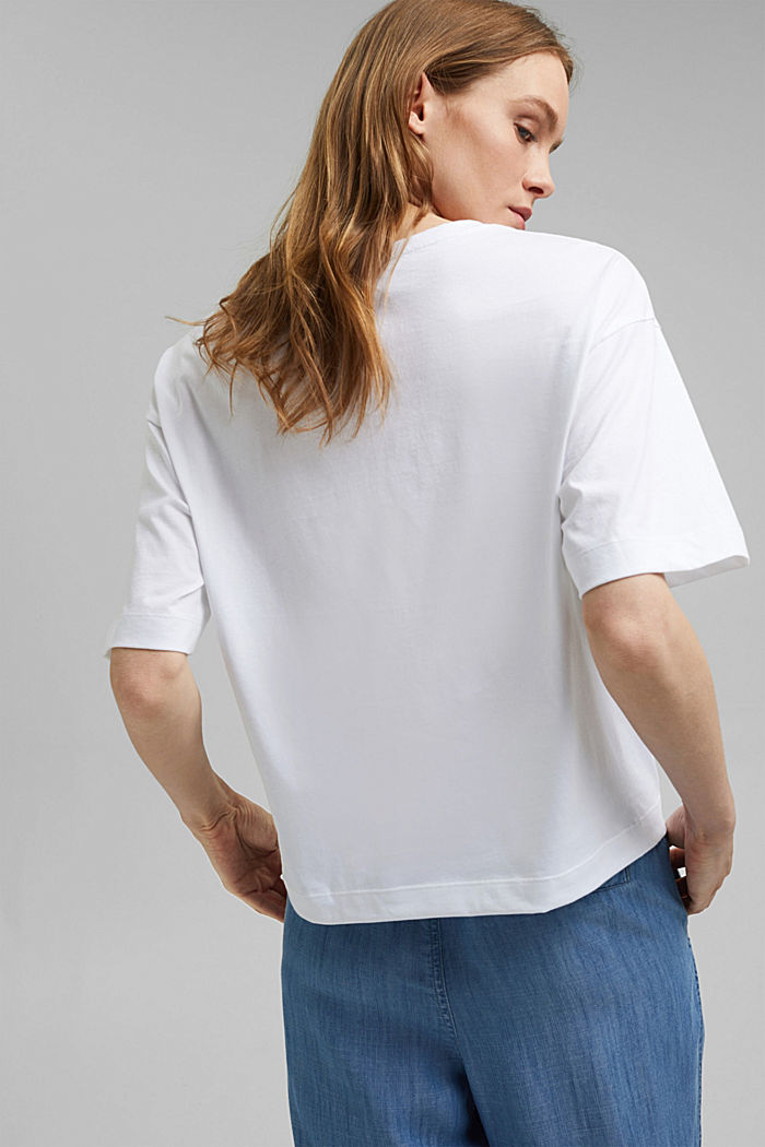 Boxy logo top made of 100% organic cotton, NEW WHITE, detail image number 3