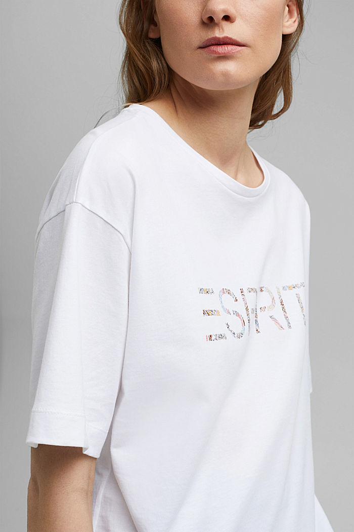 Boxy logo top made of 100% organic cotton, NEW WHITE, detail image number 2