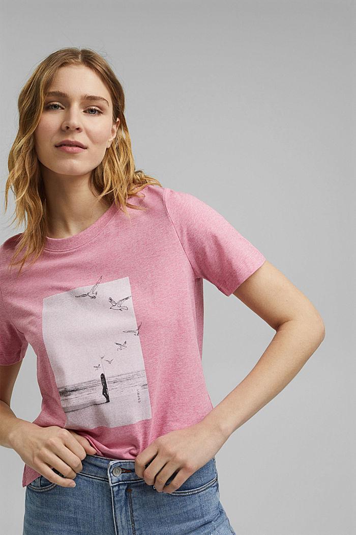 T-Shirt mit Print, Organic Cotton, PINK, detail image number 0