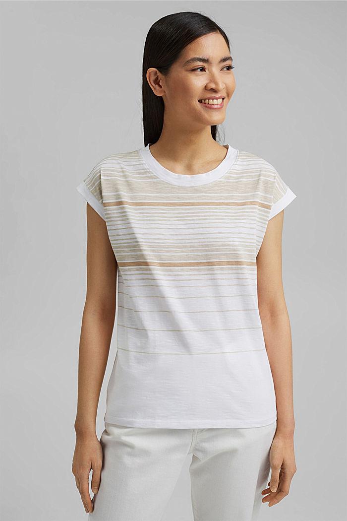 Gestreiftes T-Shirt aus 100% Bio-Baumwolle, WHITE, detail image number 0