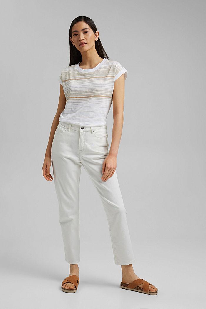 Gestreiftes T-Shirt aus 100% Bio-Baumwolle, WHITE, detail image number 1