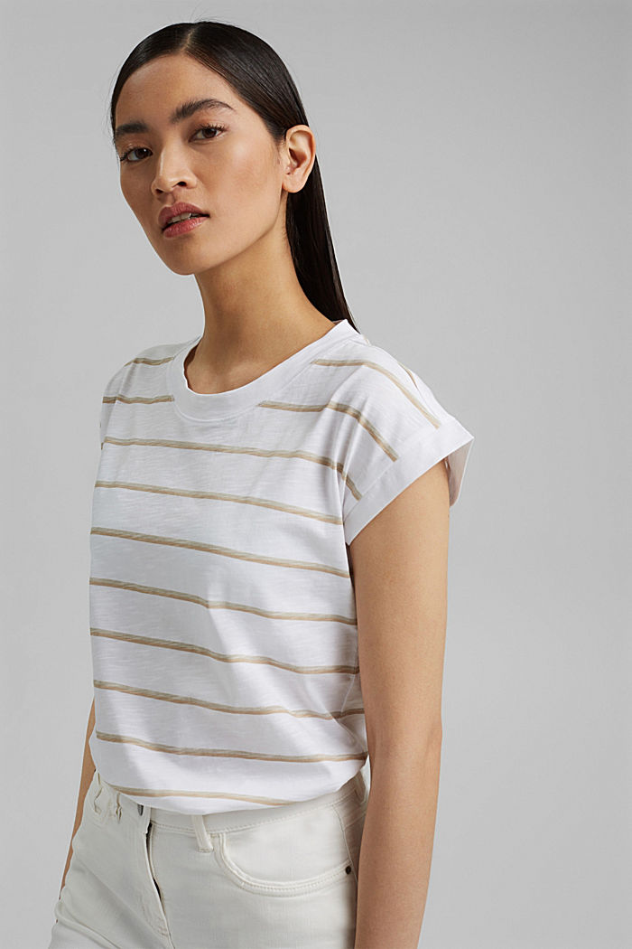 Striped T-shirt made of 100% organic cotton, NEW WHITE, detail image number 5