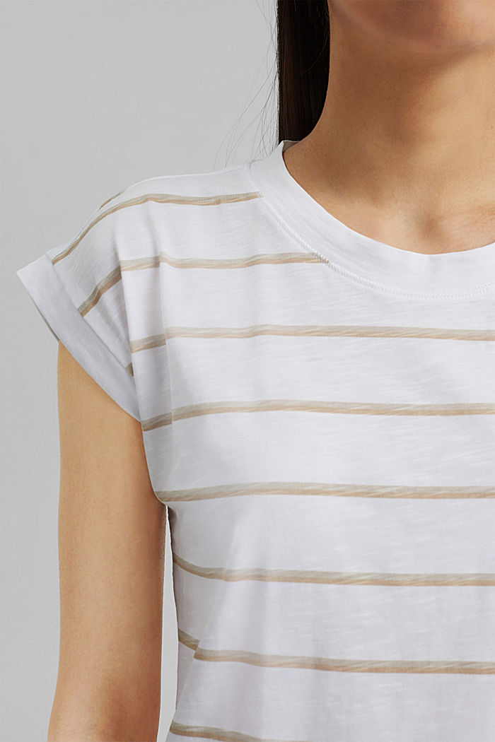 Striped T-shirt made of 100% organic cotton, NEW WHITE, detail image number 2
