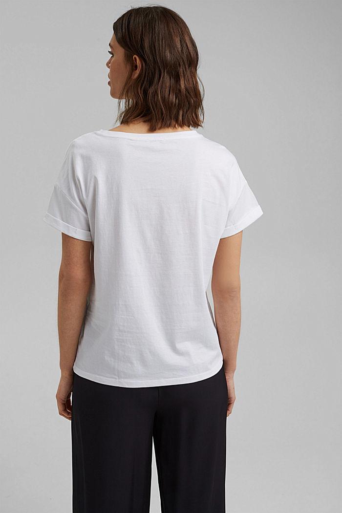 T-Shirt mit Print, Organic Cotton, WHITE, detail image number 3