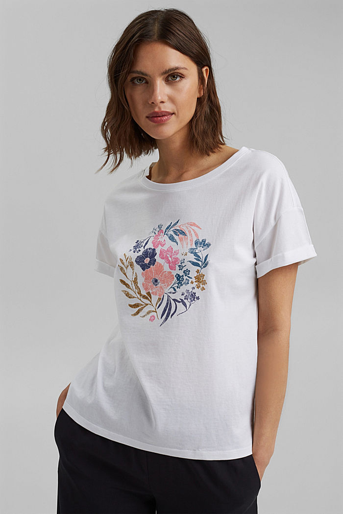 T-Shirt mit Print, Organic Cotton, WHITE, detail image number 5