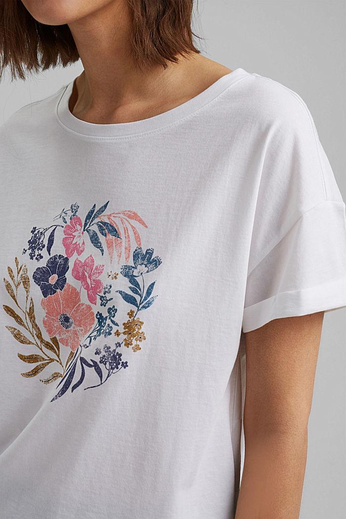 T-Shirt mit Print, Organic Cotton, WHITE, detail image number 2