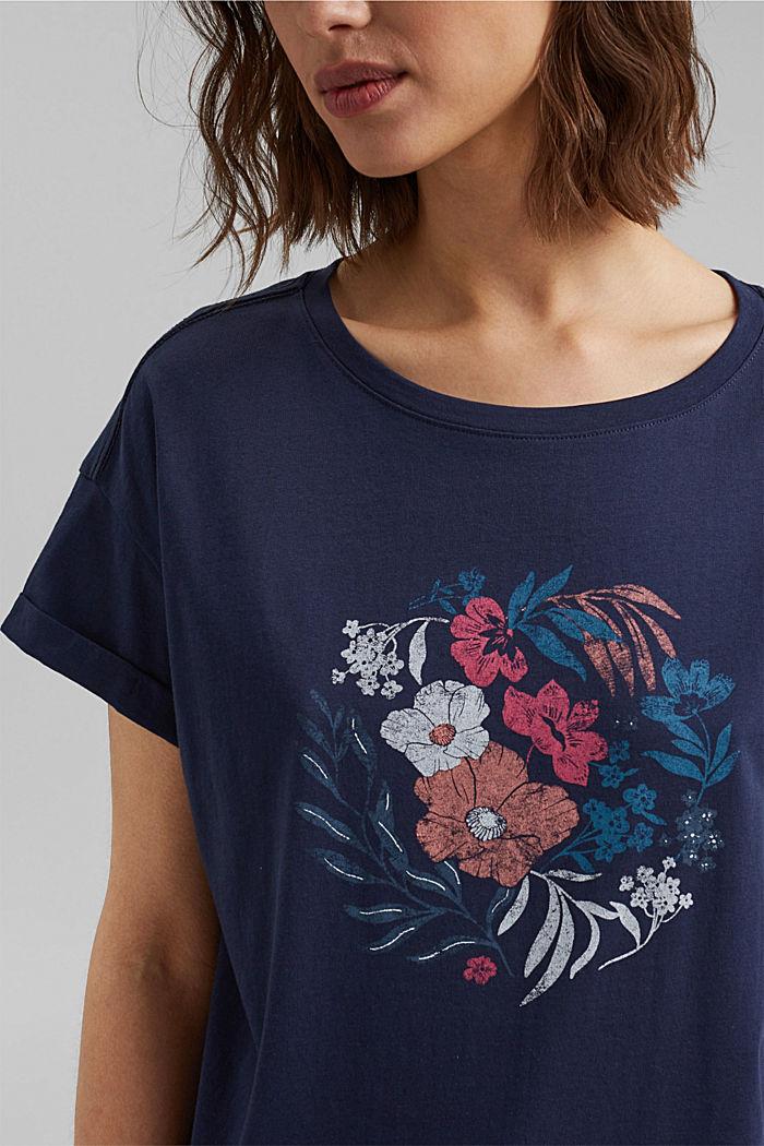 Printti-t-paita, luomupuuvillaa, NAVY, detail image number 2
