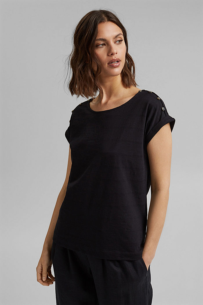 T-shirt with button plackets, 100% organic cotton