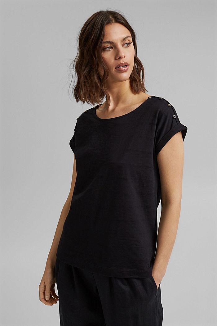 T-shirt met knoopsluitingen, 100% biologisch katoen, BLACK, detail image number 0