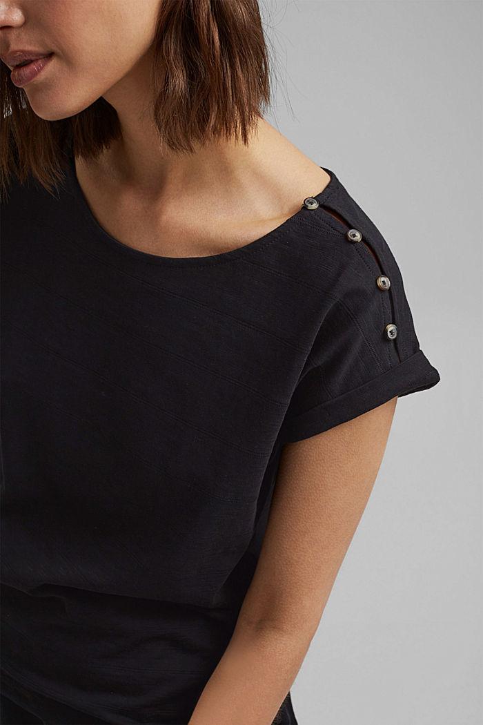 T-shirt met knoopsluitingen, 100% biologisch katoen, BLACK, detail image number 2