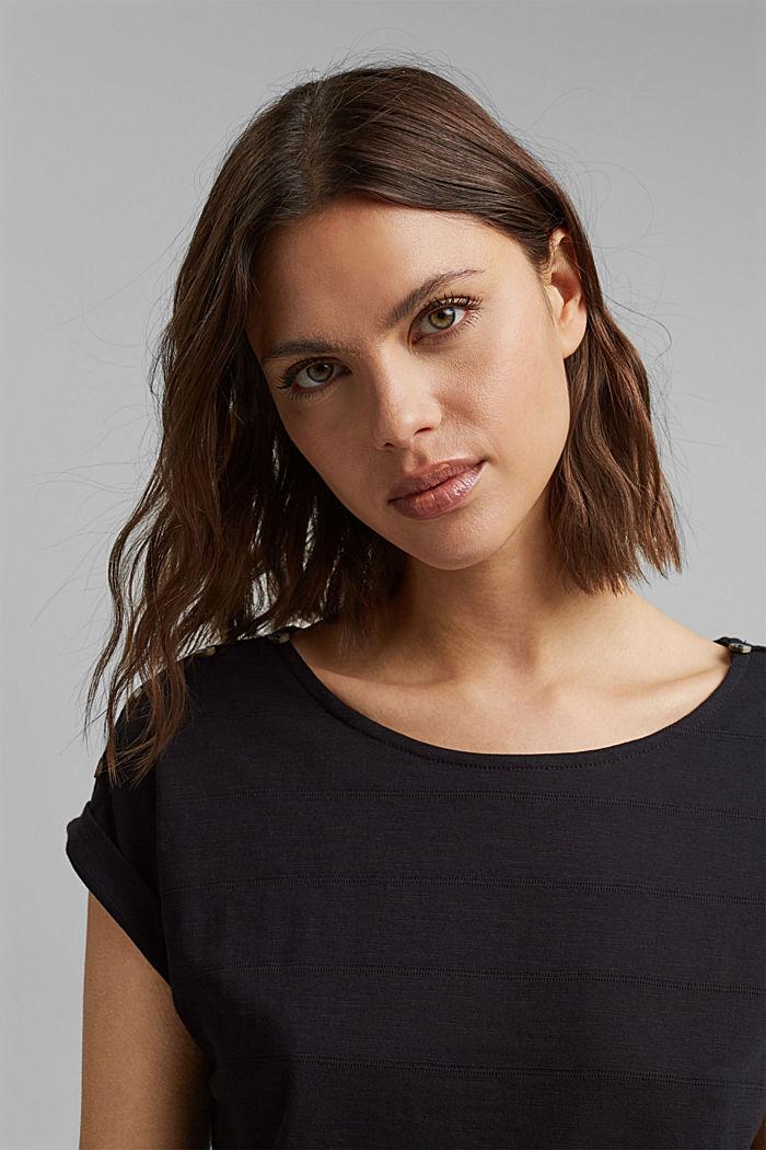 T-shirt met knoopsluitingen, 100% biologisch katoen, BLACK, detail image number 5