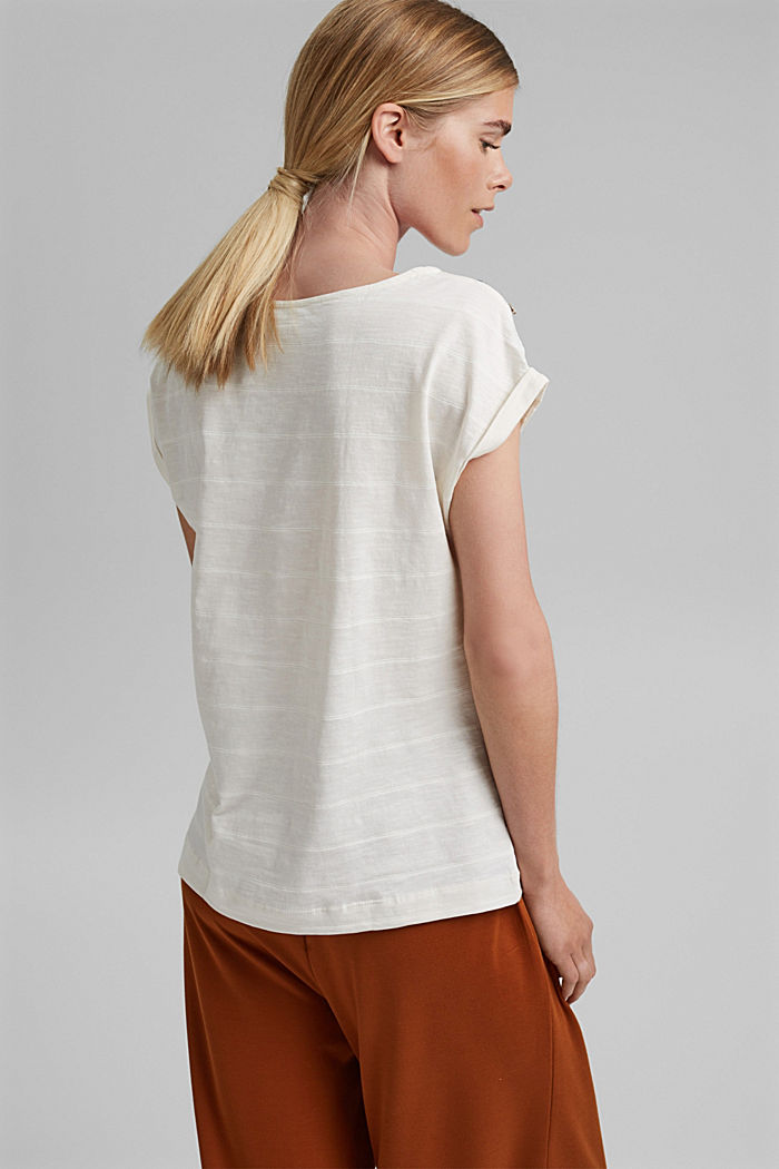 T-shirt with button plackets, 100% organic cotton, OFF WHITE, detail image number 3