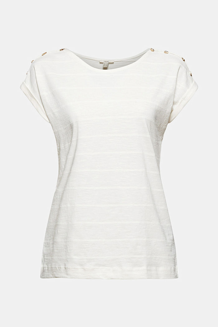 T-shirt with button plackets, 100% organic cotton, OFF WHITE, detail image number 6