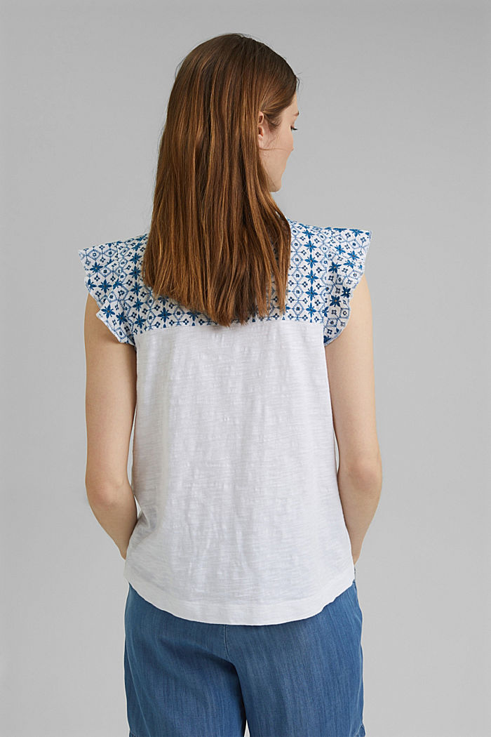 T-shirt con ricamo traforato, cotone biologico, WHITE, detail image number 3