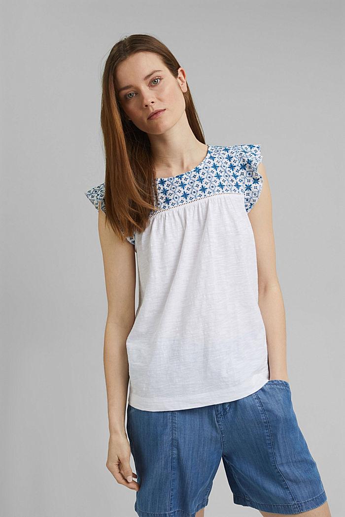 T-shirt con ricamo traforato, cotone biologico, WHITE, detail image number 5
