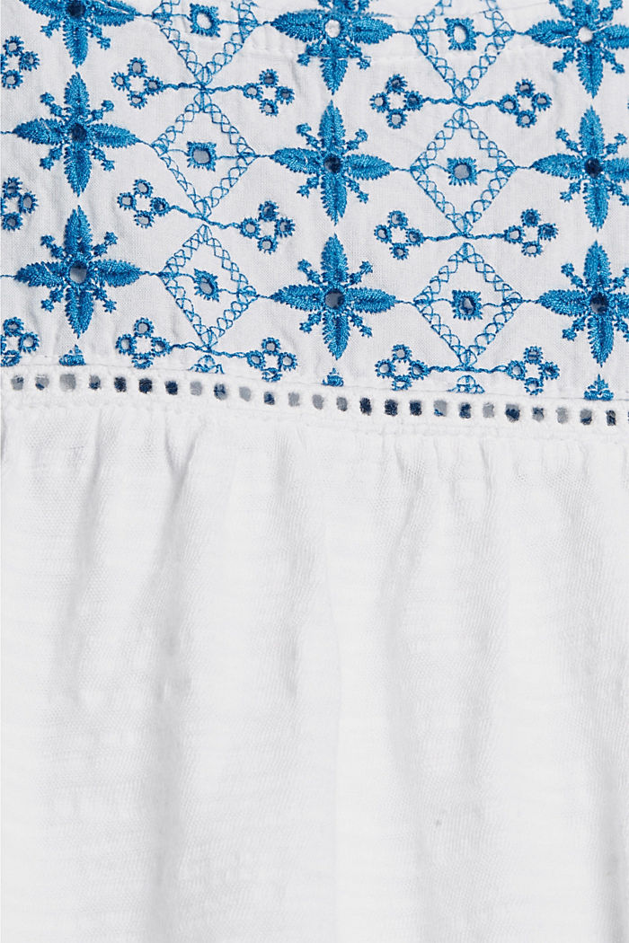 T-shirt con ricamo traforato, cotone biologico, WHITE, detail image number 4