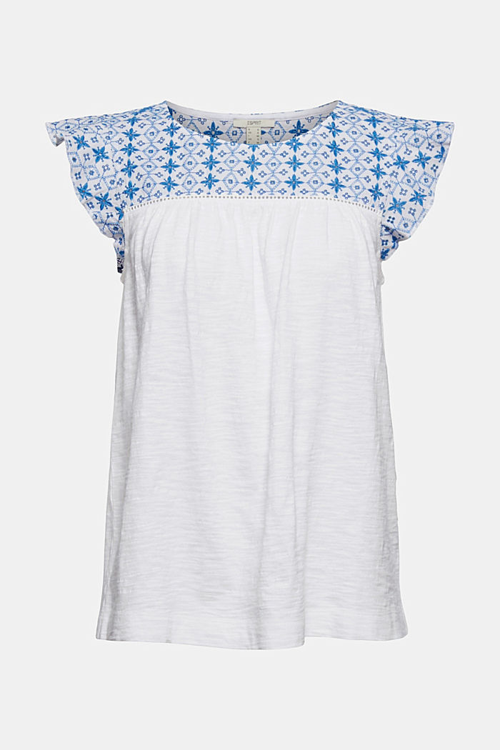 T-shirt with broderie anglaise, organic cotton