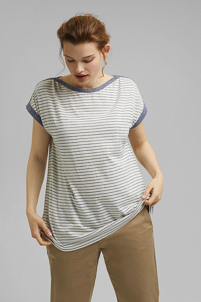 CURVY recycled: striped T-shirt, NAVY, detail image number 0