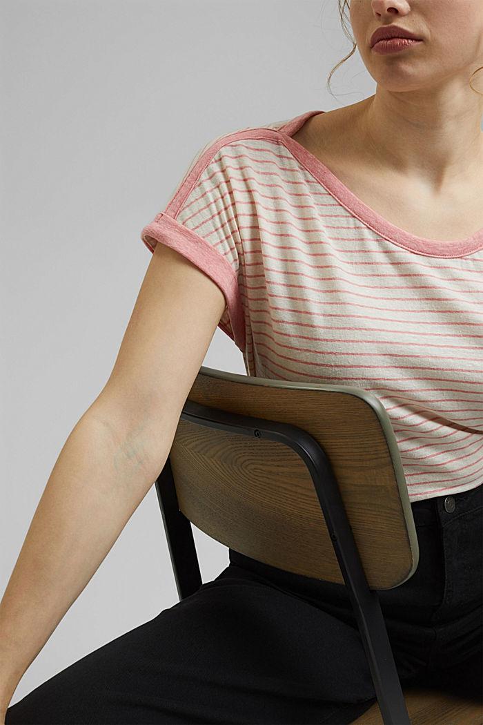CURVY Recycelt: T-Shirt mit Streifen, CORAL, detail image number 2