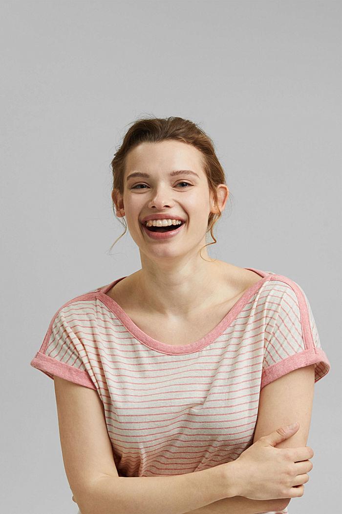 CURVY Recycelt: T-Shirt mit Streifen, CORAL, detail image number 6