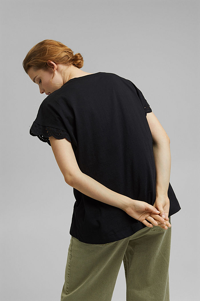 T-shirt with broderie anglaise, organic cotton, BLACK, detail image number 3